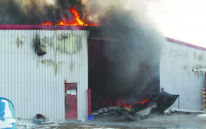 Fire destroys building in industrial area